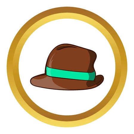 Brown retro hat vector icon in golden circle, cartoon style isolated on white background