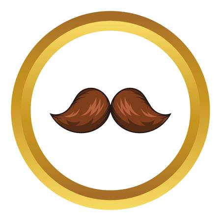 Retro hipster mustache vector icon in golden circle, cartoon style isolated on white background Illustration