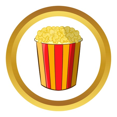 Popcorn in striped bucket vector icon in golden circle, cartoon style isolated on white background Illustration