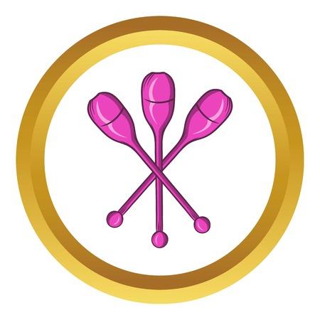 pantomima: icono de vector de clubs de malabarismo en el círculo de oro, estilo de dibujos animados aislado en el fondo blanco