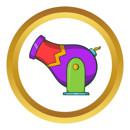 Circus cannon vector icon in golden circle, cartoon style isolated on white background