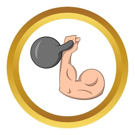 Brawny arm with dumbbell vector icon in golden circle, cartoon style isolated on white background Illustration