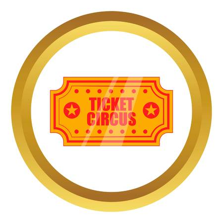 Circus show paper tickets vector icon in golden circle, cartoon style isolated on white background