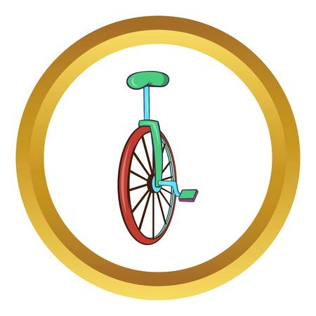 balancing act: Unicycle or one wheel bicycle vector icon in golden circle, cartoon style isolated on white background Illustration