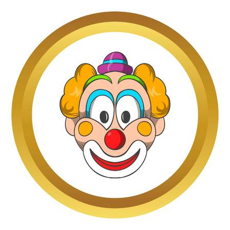 buffoon: Head of clown vector icon in golden circle, cartoon style isolated on white background