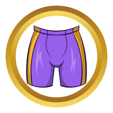 Hockey shorts vector icon in golden circle, cartoon style isolated on white background