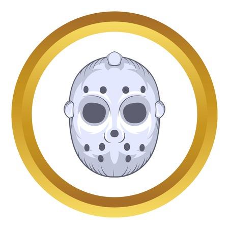 Hockey goalie mask vector icon in golden circle, cartoon style isolated on white background Illustration
