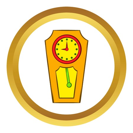 Yellow grandfather clock vector icon in golden circle, cartoon style isolated on white background