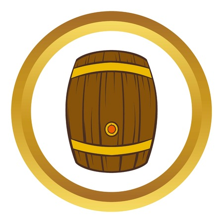 distillery: Wooden barrel of beer vector icon in golden circle, cartoon style isolated on white background
