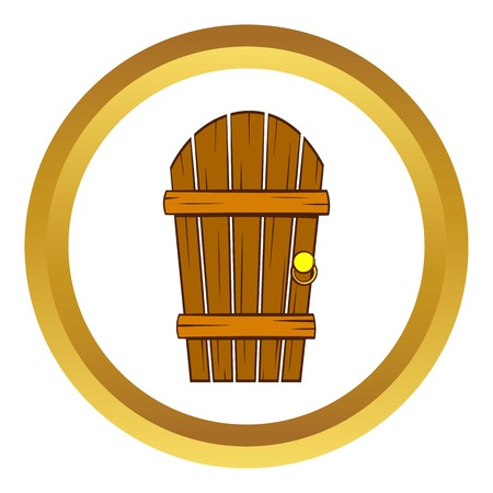 Old arched wooden door vector icon in golden circle cartoon style isolated on white background  sc 1 st  123RF.com & 704 Knock On Door Stock Illustrations Cliparts And Royalty Free ...