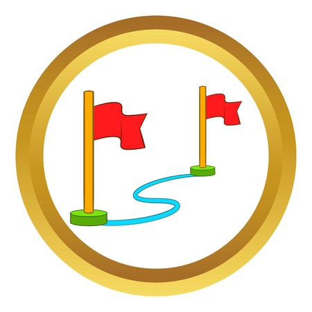 alpinism: Route with a locator flags vector icon in golden circle, cartoon style isolated on white background