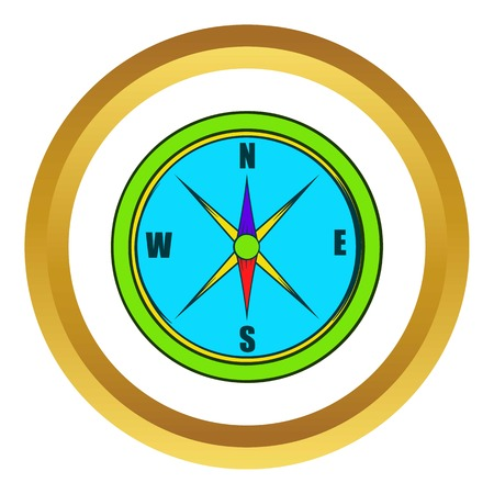 direction magnet: Compass vector icon in golden circle, cartoon style isolated on white background