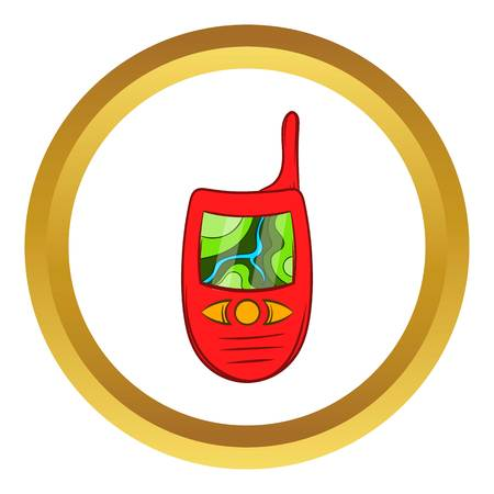 Hand held radio with GPS navigator vector icon in golden circle, cartoon style isolated on white background Illustration