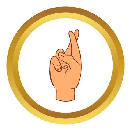 fingers crossed: Fingers crossed vector icon in golden circle, cartoon style isolated on white background