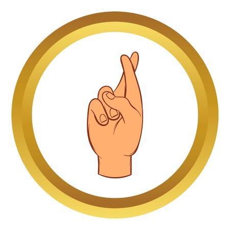 Vingers gekruist vector icon in gouden cirkel, cartoon stijl op een witte achtergrond Stock Illustratie