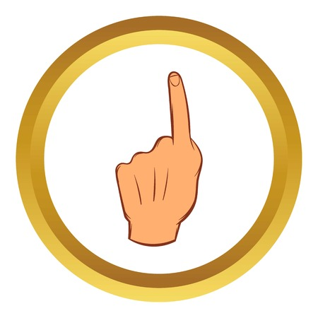 Forefinger up gesture vector icon in golden circle, cartoon style isolated on white background