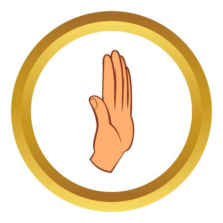 Stop gesture vector icon in golden circle, cartoon style isolated on white background