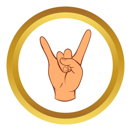 Rock and Roll hand sign vector icon in golden circle, cartoon style isolated on white background Illustration