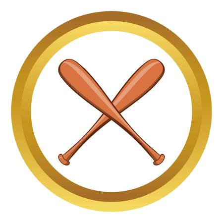 Baseball bat vector icon in golden circle, cartoon style isolated on white background