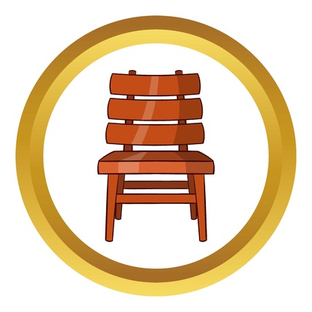 Chair vector icon in golden circle, cartoon style isolated on white background