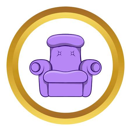 Easy armchair vector icon in golden circle, cartoon style isolated on white background Illustration
