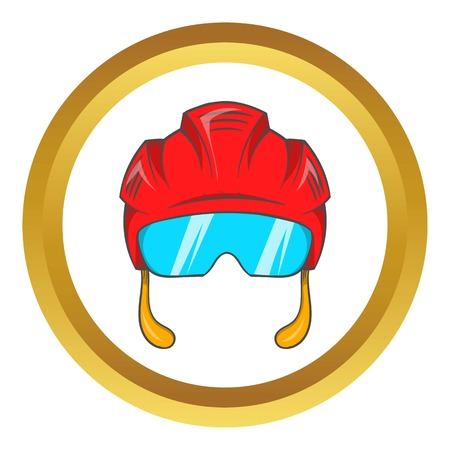 visor: Red hockey helmet with glass visor vector icon in golden circle, cartoon style isolated on white background