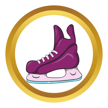 Ice hockey skates vector icon in golden circle, cartoon style isolated on white background