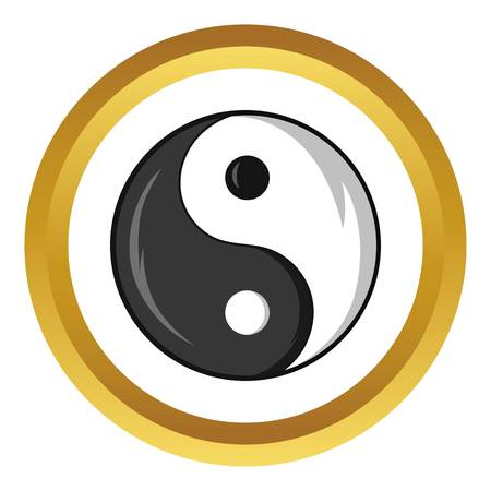 Yin and yang symbol vector icon in golden circle, cartoon style isolated on white background