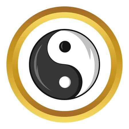 yin y yan: Yin y Yang símbolo del icono del vector en el círculo de oro, estilo de dibujos animados aislado en el fondo blanco Vectores