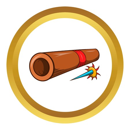 Ninja bamboo tube with a poisoned arrow vector icon in golden circle, cartoon style isolated on white background Illustration