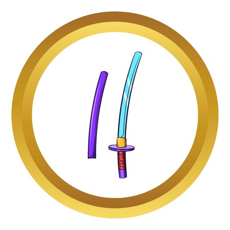 Katana, ancient Japanese sword vector icon in golden circle, cartoon style isolated on white background