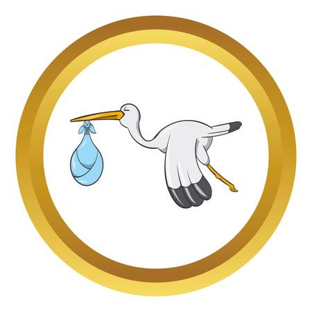 Stork with baby vector icon in golden circle, cartoon style isolated on white background Illustration