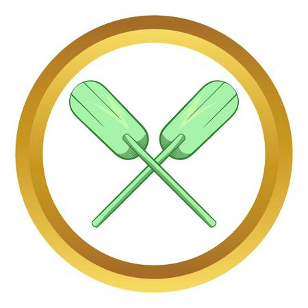 Paddles vector icon in golden circle, cartoon style isolated on white background Illustration
