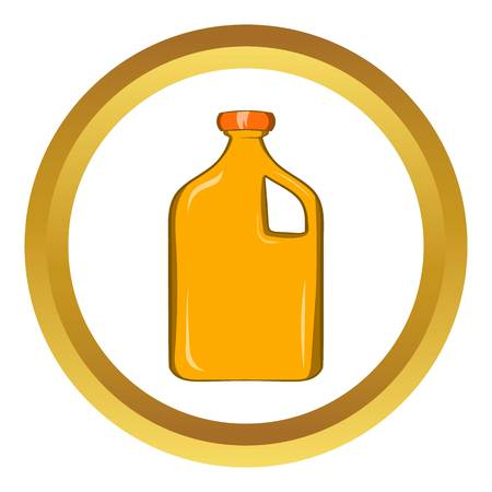 petrochemistry: Packaging for engine oil vector icon in golden circle, cartoon style isolated on white background