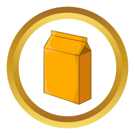 cardboard packaging: Cardboard packaging vector icon in golden circle, cartoon style isolated on white background