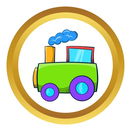 Green toy train vector icon in golden circle, cartoon style isolated on white background