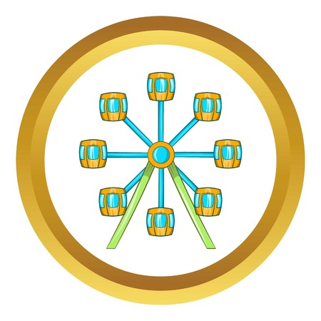 exciting: Ferris wheel vector icon in golden circle, cartoon style isolated on white background