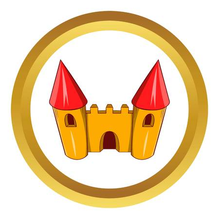 coaster: Fairy tale castle vector icon in golden circle, cartoon style isolated on white background Illustration