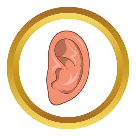 Ear vector icon in golden circle, cartoon style isolated on white background