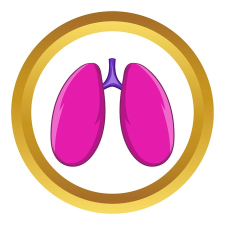 Lungs vector icon in golden circle, cartoon style isolated on white background Illustration