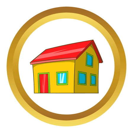 Real estate vector icon in golden circle, cartoon style isolated on white background