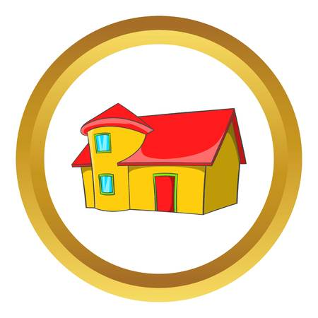 building lot: Real estate vector icon in golden circle, cartoon style isolated on white background