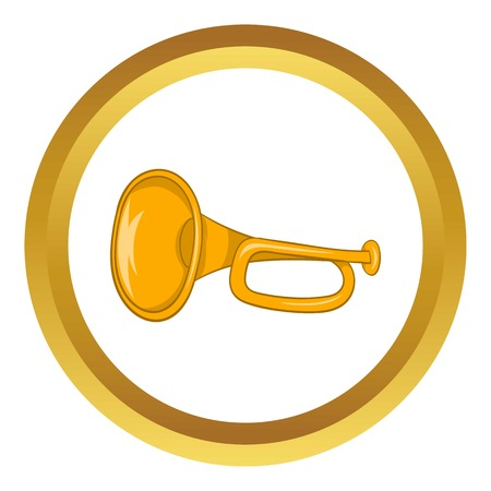 Music tube vector icon in golden circle, cartoon style isolated on white background