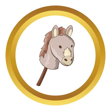 Toy donkey vector icon in golden circle, cartoon style isolated on white background