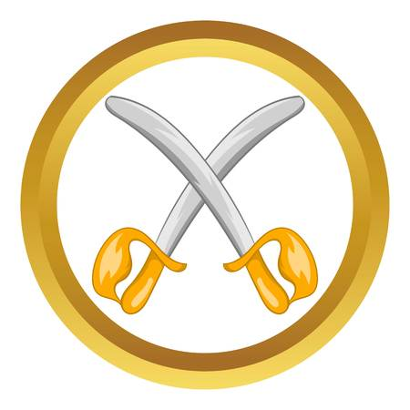 blacksmith: Toy swords vector icon in golden circle, cartoon style isolated on white background Illustration