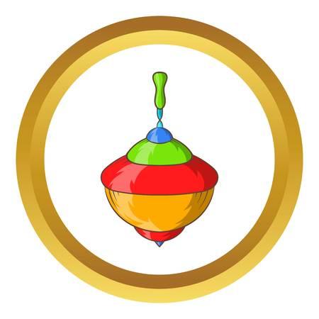 icono del vector de perinola en el círculo de oro, estilo de dibujos animados aislado en el fondo blanco Vectores