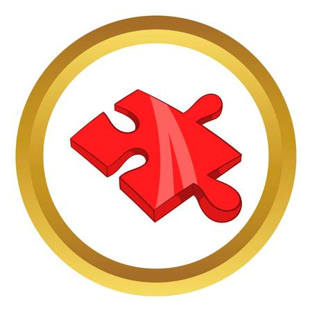 Piece of puzzle vector icon in golden circle, cartoon style isolated on white background