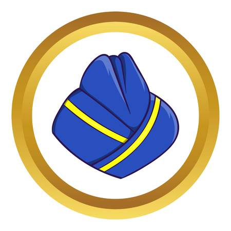 Blue forage cap of stewardess vector icon in golden circle, cartoon style isolated on white background Illustration