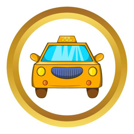 Taxi car vector icon in golden circle, cartoon style isolated on white background
