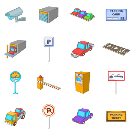 Parking items icons set. Cartoon illustration of 16 parking items vector icons for web Illustration